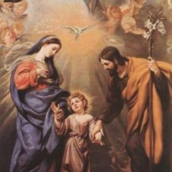 la Sagrada familia con el Espíritu Santo y Dios Padre